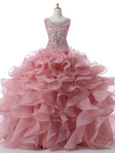 Latest Pink Ball Gowns Organza Scoop Sleeveless Beading and Ruffles Floor Length Zipper Quinceanera Gown