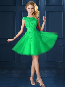 Green Tulle Lace Up Bateau Cap Sleeves Knee Length Dama Dress Lace and Appliques