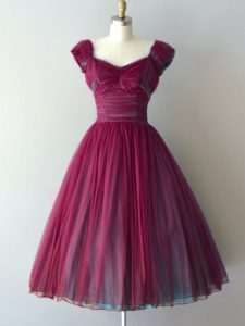Trendy Burgundy V-neck Lace Up Ruching Quinceanera Court of Honor Dress Cap Sleeves