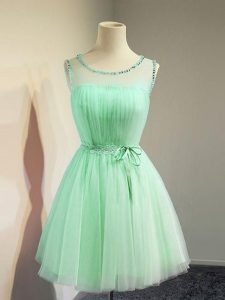 Fantastic Apple Green Empire Scoop Sleeveless Tulle Knee Length Lace Up Belt Dama Dress for Quinceanera