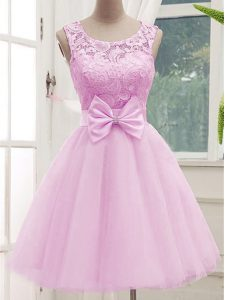 Exceptional Lilac Sleeveless Tulle Lace Up Vestidos de Damas for Prom and Party and Wedding Party