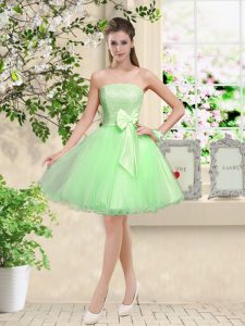 Sleeveless Organza Knee Length Lace Up Dama Dress in with Lace and Belt
