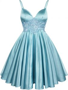 Elastic Woven Satin Spaghetti Straps Sleeveless Lace Up Lace Court Dresses for Sweet 16 in Aqua Blue
