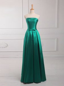 Fitting Belt Quinceanera Court of Honor Dress Dark Green Lace Up Sleeveless Floor Length