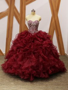 Burgundy Sleeveless Brush Train Beading and Ruffles 15 Quinceanera Dress