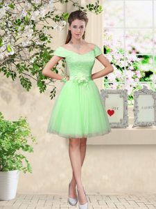 Knee Length Apple Green Dama Dress for Quinceanera V-neck Cap Sleeves Lace Up
