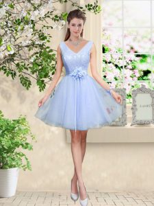 Cute A-line Court Dresses for Sweet 16 Lavender V-neck Tulle Sleeveless Knee Length Lace Up