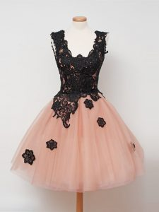 Knee Length Zipper Quinceanera Dama Dress Peach for Prom and Party and Wedding Party with Lace