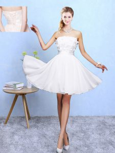 Captivating White A-line Appliques Quinceanera Dama Dress Lace Up Chiffon Sleeveless Knee Length