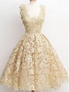 Pretty Champagne A-line Lace Damas Dress Zipper Lace Sleeveless Knee Length