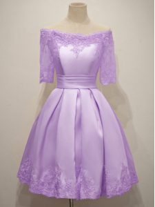 Pretty Short Sleeves Knee Length Lace Lace Up Court Dresses for Sweet 16 with Lavender
