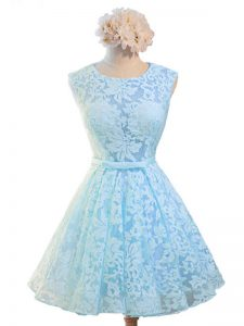 Knee Length Light Blue Quinceanera Court Dresses Scoop Sleeveless Lace Up