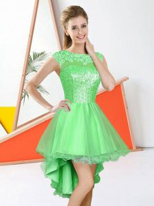 Enchanting A-line Court Dresses for Sweet 16 Bateau Organza Sleeveless Knee Length Backless
