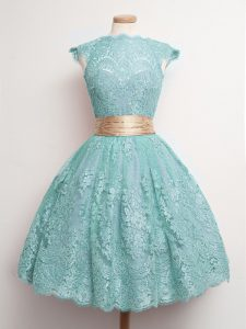 Fashionable Knee Length Aqua Blue Damas Dress Lace Cap Sleeves Belt