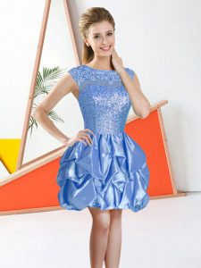 Ball Gowns Dama Dress for Quinceanera Baby Blue Bateau Taffeta Sleeveless Knee Length Backless