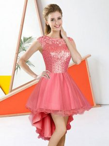 Amazing High Low A-line Sleeveless Watermelon Red Quinceanera Dama Dress Backless