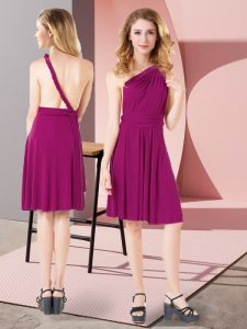 Fuchsia Chiffon and Silk Like Satin Criss Cross One Shoulder Sleeveless Mini Length Dama Dress for Quinceanera Ruching