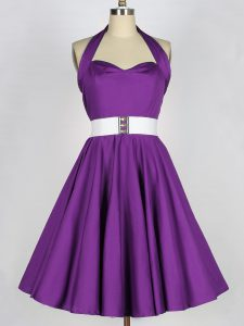 Eggplant Purple Lace Up Dama Dress for Quinceanera Belt Sleeveless Knee Length