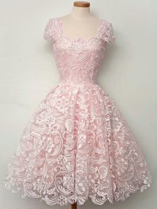 Cap Sleeves Knee Length Lace Lace Up Quinceanera Dama Dress with Baby Pink