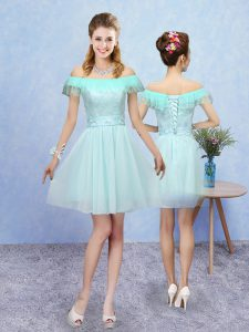 Colorful Off The Shoulder Cap Sleeves Lace Up Dama Dress for Quinceanera Aqua Blue Tulle