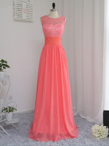 Watermelon Red Sleeveless Floor Length Lace Zipper Dama Dress for Quinceanera