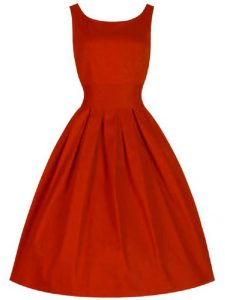 Red Sleeveless Knee Length Ruching Lace Up Dama Dress for Quinceanera