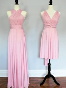 Customized Chiffon Halter Top Sleeveless Lace Up Ruching Quinceanera Court of Honor Dress in Baby Pink