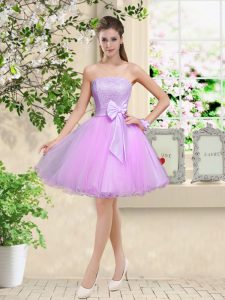 Lilac Sleeveless Knee Length Lace and Belt Lace Up Quinceanera Dama Dress