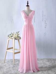 Discount Baby Pink Sleeveless Ruching Floor Length Dama Dress