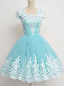 Aqua Blue Court Dresses for Sweet 16 Prom and Party and Wedding Party with Lace Square Cap Sleeves Zipper