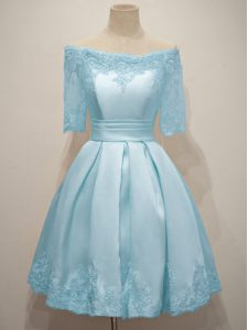Half Sleeves Lace Up Knee Length Lace Quinceanera Dama Dress
