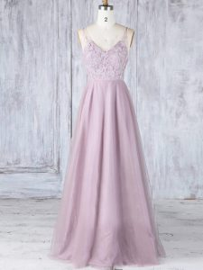 V-neck Sleeveless Tulle Quinceanera Dama Dress Lace Clasp Handle