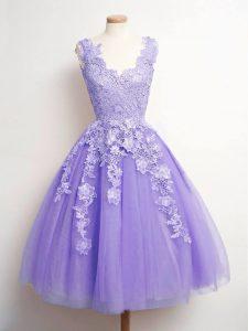 Custom Design V-neck Sleeveless Quinceanera Court Dresses Knee Length Lace Lavender Tulle