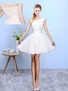 White A-line Appliques Dama Dress for Quinceanera Lace Up Chiffon Sleeveless Knee Length