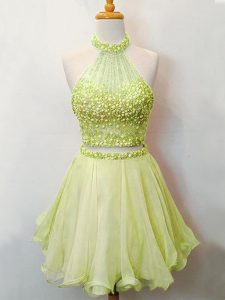 Hot Sale Organza Halter Top Sleeveless Lace Up Beading Vestidos de Damas in Yellow Green