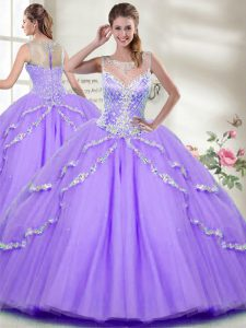 Graceful Lavender Sleeveless Tulle Zipper Quince Ball Gowns for Military Ball and Sweet 16 and Quinceanera