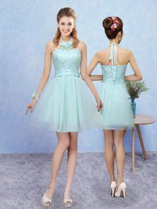 Customized Aqua Blue Tulle Lace Up Halter Top Sleeveless Mini Length Quinceanera Court Dresses Lace