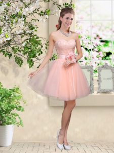 Knee Length Peach Court Dresses for Sweet 16 Tulle Sleeveless Lace and Belt