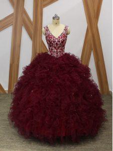 Sleeveless Floor Length Beading and Ruffles Backless 15th Birthday Dress with Burgundy