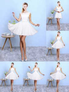 Vintage White Lace Up Quinceanera Court of Honor Dress Lace and Appliques Sleeveless Knee Length