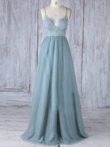 Elegant Tulle Spaghetti Straps Sleeveless Zipper Lace Damas Dress in Grey