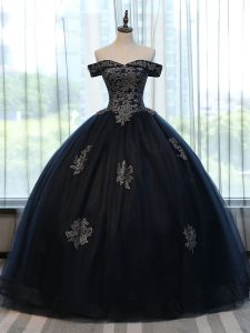 Fancy Off The Shoulder Sleeveless Sweet 16 Quinceanera Dress Floor Length Appliques Navy Blue Tulle