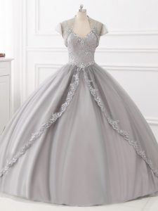 Delicate Straps Sleeveless Lace Up Ball Gown Prom Dress Grey Tulle