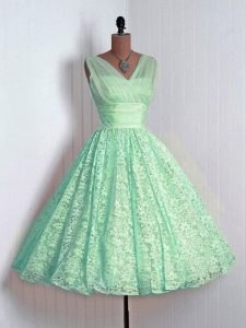 Mini Length Apple Green Damas Dress V-neck Sleeveless Lace Up