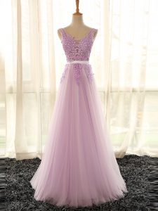 Edgy Lilac V-neck Neckline Appliques Dama Dress for Quinceanera Sleeveless Lace Up