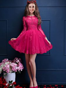 Hot Pink Chiffon Lace Up Dama Dress for Quinceanera 3 4 Length Sleeve Mini Length Beading and Lace and Appliques