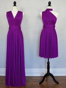 Stunning Purple Chiffon Lace Up Halter Top Sleeveless Floor Length Vestidos de Damas Beading and Ruching