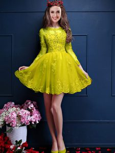 Yellow Chiffon Lace Up Scalloped 3 4 Length Sleeve Mini Length Dama Dress Beading and Lace and Appliques