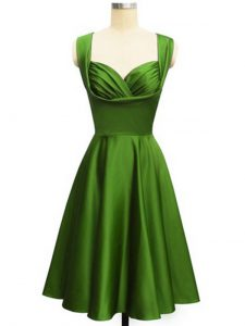 Empire Vestidos de Damas Green Straps Taffeta Sleeveless Knee Length Lace Up