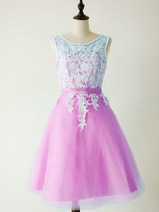 Modern Sleeveless Knee Length Lace Lace Up Quinceanera Court of Honor Dress with Lilac